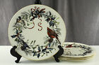 Signed Lenox China CHRISTMAS WInter Greetings Bird Pattern Lot 4 Dinner Plates A