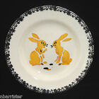 Childs French Faience Stencil Plate Talking Rabbits c1900 Bunny Talk