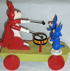 estate /vintage GERMAN  MECHANICAL CAT  &  MOUSES pull toy  wood COLORFUL