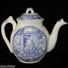 Staffordshire Flow Blue Childs Teapot Little Mae Pets Cats Dog Allerton 1880