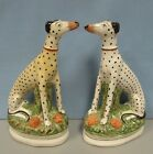 Antique pair of Staffordshire seated dalmatians whippets dogs 19th