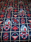 3 Yds New Cotton Quilt Panel Cheater Fabric Navy Blue Red Calico Heart Flower