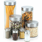 New 8-Piece Glass Canister Spice Jar Set Kitchen Food Storage Pasta Sugar Flour