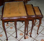 Vtg Stacking Old Nest of 3 Tables Set Carved Mahogany Wood Leather Glass Top