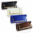 Vintage Shiny Chic Frame Clutch Metal Trim Faux Patent Leather Handbag Purse