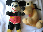 Set of 2 Vintage 1960's Mickey Mouse & Pluto California Stuffed Toys