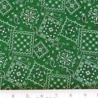 Blazin Bandanas Green Bandana Pattern Cotton Fabric by the Yard
