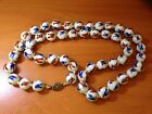 Vintage Chinese Hand Painted Butterflies Peking Glass Bead Necklace