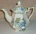 C1850s Staffordshire Clobbered Transfer Coffee Teapot Princess Feather Butterfly