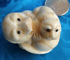 Hand Carved Bone Netsuke Two Lion Cub / figures Signed - cute!