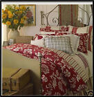 Chaps FRENCH RIVIERA Reversible Comforter Set 4pc RED Tan Floral Stripe FULL