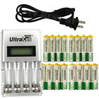 8 AA + 8 AAA 1350mAh 3000mAh NiMH 1.2V Rechargeable Battery US LCD Charger BTY