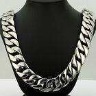 24mm Boys Mens Chain Heavy Silver Tone Curb Cuban 316L Stainless Steel Necklace