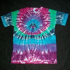 Organic Tie Dye T Shirt Large Peacock Hand Tye Dyed Hippie Fair Trade Hippy