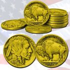 LooK! FIVE 24KT GOLD PLATED BUFFALO NICKELS INDIAN HEAD PROOF LIKE NICKELS COINS