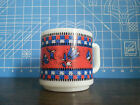 Vtg Red White and Blue Flower Floral Checker Check Milk Glass Coffee Mug Tea Cup