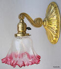 Weber Light Sconce Cranberry Ruffled Shade Clear Glass Wired Paddle Knob c1930s