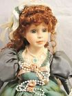 Beautiful! DUCK HOUSE HEIRLOOM porcelain DOLL 19 inch VICTORIAN green pink lace