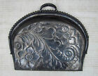 ART NOUVEAU ANTIQUE HAMMERED METAL SILENT BUTLER CRUMB TRAY BEADED EDGE FLORAL