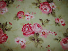 NEW~ROBYN PANDOLPH~HANNAH BELLA~1 YD Green COTTAGE Roses QUILT Sewing FABRIC