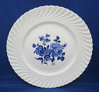 Dinner Plate Luneville France LUN11 Blue Rose Floral Center Swirl Rim