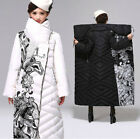 Winter Vintage Women's Warm Goose Down Long Coat Printed White Black Knee Long