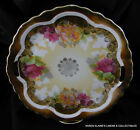 Antique Three Crowns Germany Hand Painted Porcelain Plate Roses Handles