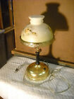 electric lamp converted gas lamp with glass shade flower pattern brass