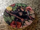 FITZ & FLOYD EXOTIC JUNGLE CHIMP MONKEY FLORAL DESIGN BONE CHINA SALAD PLATE EC