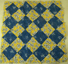 VINTAGE QUILT BLOCK + 105 SQUARE YELLOW  BLUE OLD FABRIC PRINTS HAND SEWN