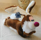 Applause TELLY Brown & White Lying Down Plush Bunny Rabbit with Blue Plastic Tag