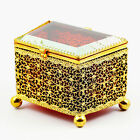 Antique Bohemian ruby amber crystal glass ormolu filigree Trinket Box hinged lid