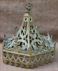 French Gothic Canopy Solid Cut Bronze Statue Chapel 19th C