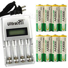 8 x AA 2A 3000mAh Ni-MH 1.2V Volt Rechargeable Battery US LCD Charger Green BTY