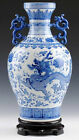Art blue and white porcelain vase painted flying dragons with double dragon ears