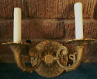 ANTIQUE VINTAGE VICTORIAN BRASS 2 ELECTRIC WALL LIGHT CANDELABRA SCONCE