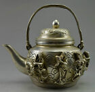 Collectible Decorated Old Handwork Tibet Silver Carving 8 Immortal Tea Pot