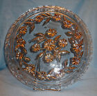 Early 1900s  Goofus Glass Footed Cake Plate w Itaglio Cut Silver Floral Patterns