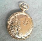 Vintage Elgin 14K Yellow Gold Ladies Size Pocket Watch Hunter Case Etched Bird