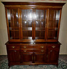 VINTAGE Ethan Allen Georgian Court Four Glass Door Cherry China Cabinet, Hutch