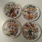 Set of 4 Porcelain West Germany Coasters Ceramic Seasons Altenkunstadt