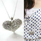 Retro Womens Carved Heart Flower Long Chain Silver Tone Pendant Necklace Gift JP