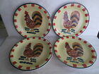 Style Eyes by Baum Bros. Red Check Rooster collection Dinner Plates - set of 4