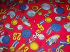 1 1 4 yds of sports on red fleece fabric