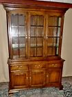 VINTAGE Pennsylvania House Oak Lighted China Cabinet Hutch Glass Shelves
