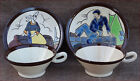 HB Quimper Art Deco Couple of Bretons Cup Saucer G Renaud French Faience 1930