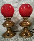ANTIQUE PAIR ELECTRIC OIL LAMPS RED GLASS GLOBE GWTW PA MFG CO ACORN BURNER