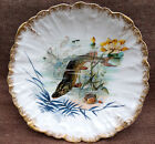 Pike French Artist Limoges Hand Painted Scalloped Plate Gilt 1880