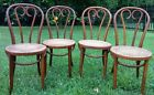 Antique Set of 4 Bentwood Cane Seat Cafe Bistro Chairs Thonet Style Romania Vtg