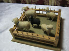 ANTIQUE SHEEP TOY FIGURES WITH WOOD FARM PEN   T*